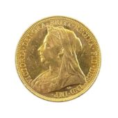 Pre-Owned-1900-Melbourne-Mint-Victoria-'Veiled-Head'-Full-Sovereign-Gold-Coin